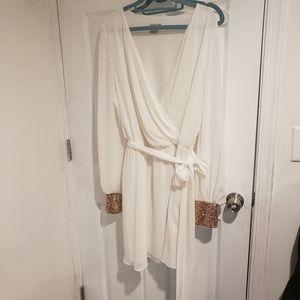 ASOS Long Sleeve White Faux wrap dress